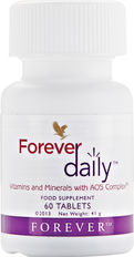 This powerful daily multivitamin delivers 100% of the recommended daily allowance (RDA) of essential vitamins and bio-available minerals and nutrients. Forever Daily combines fifty-five perfectly balanced aloe-coated nutrients including vitamins A, C, D and B12, iron, calcium and zinc. Take with the Forever Aloe Vera Gel for best results.