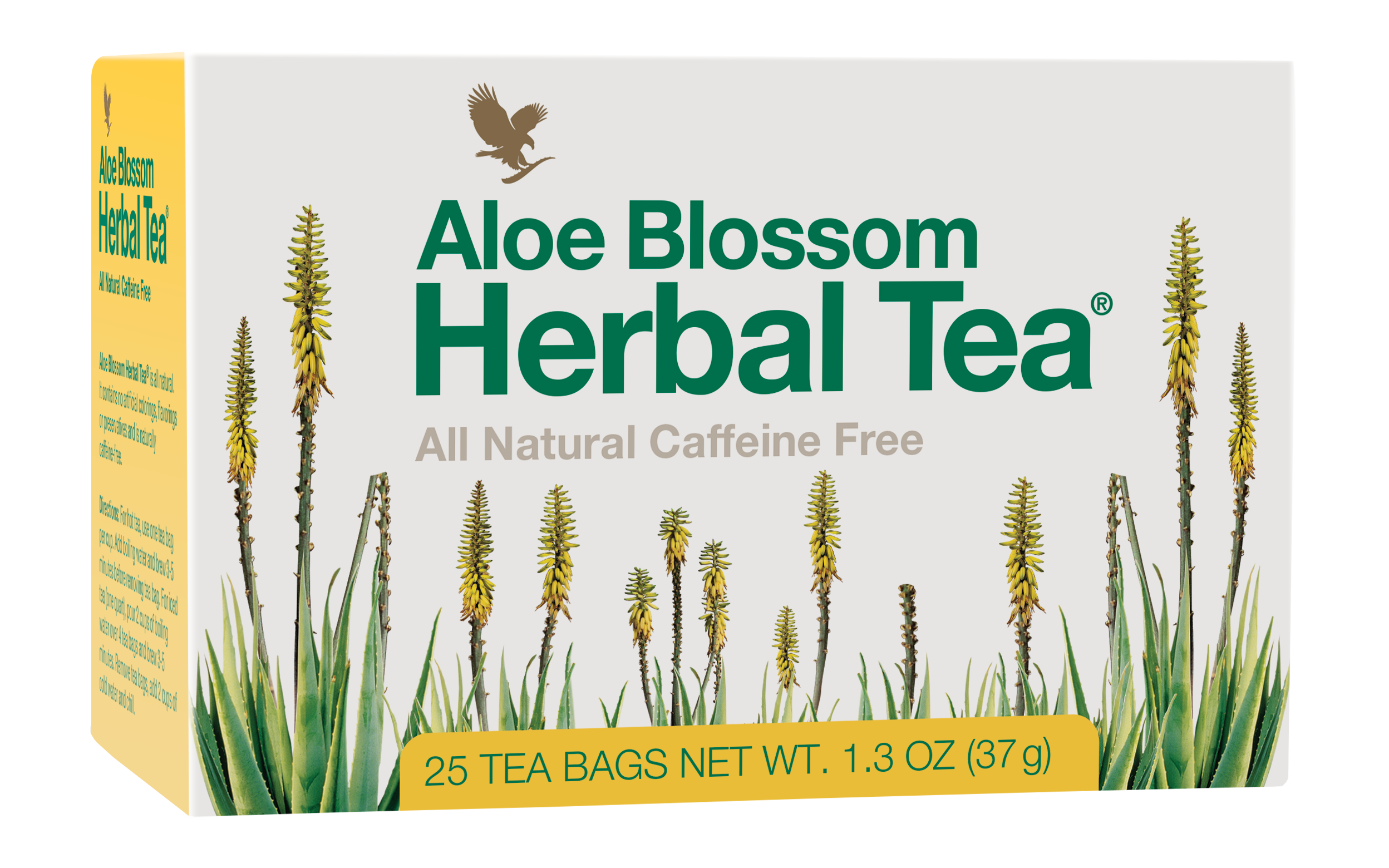 Promote inner-calm and wellbeing with this all-natural brew of leaves, herbs and spices. This caffeine-free tea features a robust combination of cinnamon, cloves, ginger, cardamom and allspice without any calories. Refreshing, soothing and naturally low in calories, Aloe Blossom Herbal Tea is delicious served warm or with ice as a refreshing alternative. Each pack contains twenty-five individually foil-wrapped sachets.