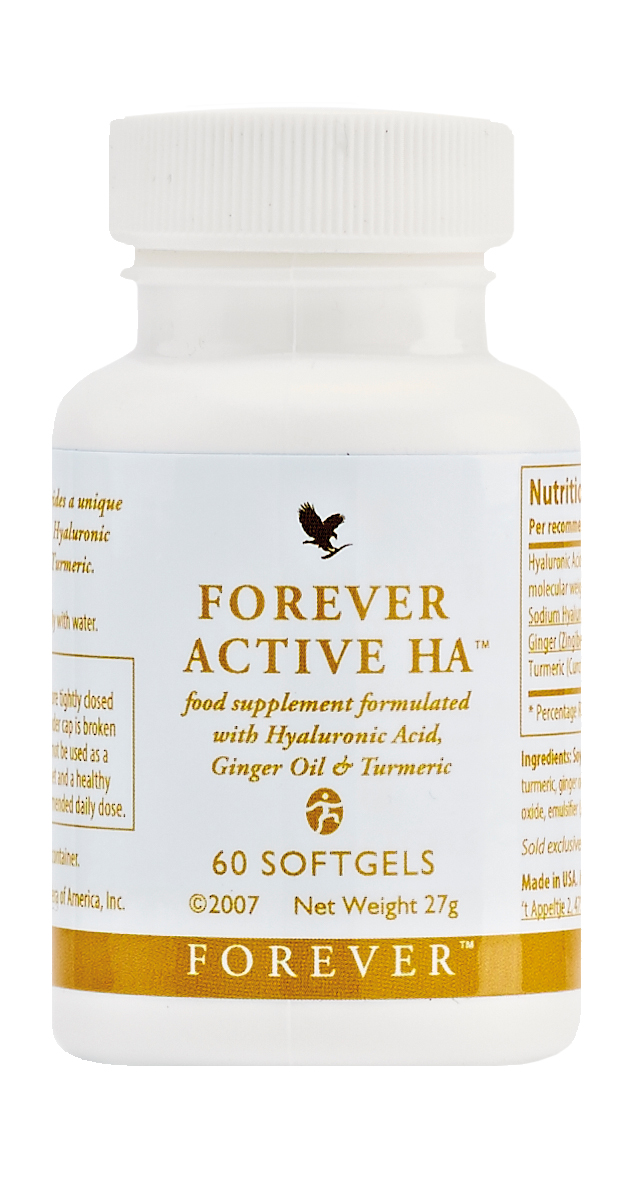 Hyaluronic acid (HA) is a naturally occurring substance in connective tissue that works to cushion and fill spaces between the cells. Like many other substances in our bodies, hyaluronic acid depletes with age. Forever Active HA provides you with a unique form of low molecular weight HA plus ginger oil and turmeric roots. N.B. Contains soy.