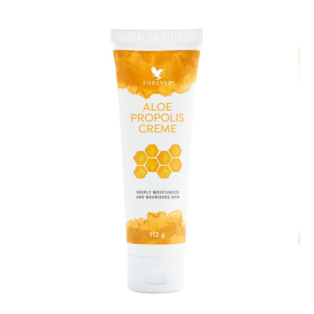 A rich, creamy blend of aloe vera, bee propolis and camomile that helps maintain healthy, beautiful skin tone and texture. The Aloe Propolis Creme's moisturising and conditioning properties make for an excellent everyday moisturiser and helps to soothe irritation. N.B. Suitable for people prone to dry skin conditions. Contains lanolin.