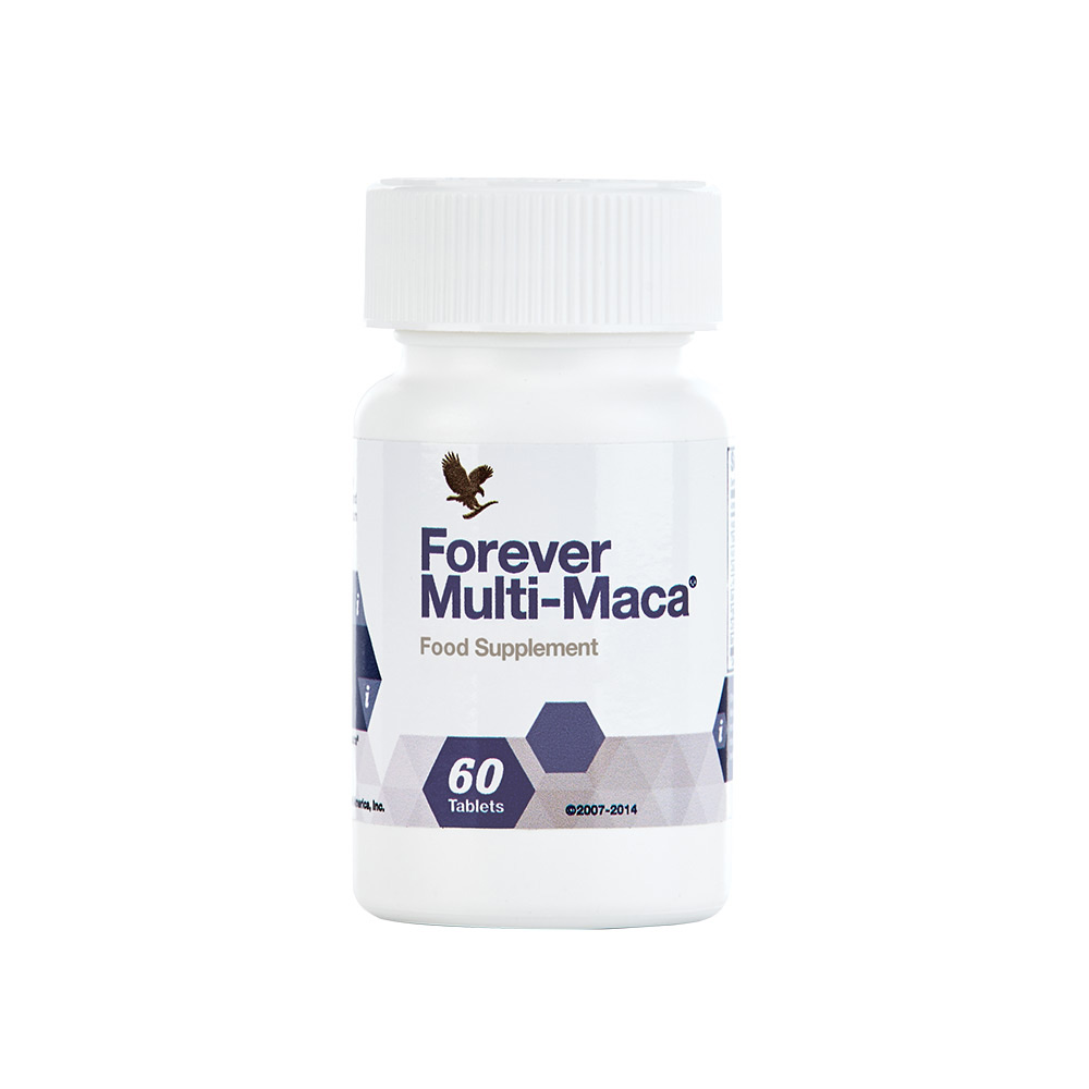 Forever Multi-Macacombines legendary Peruvian maca with Q-10, L-Arginine and other powerful herbs. N.B. Contains soy.