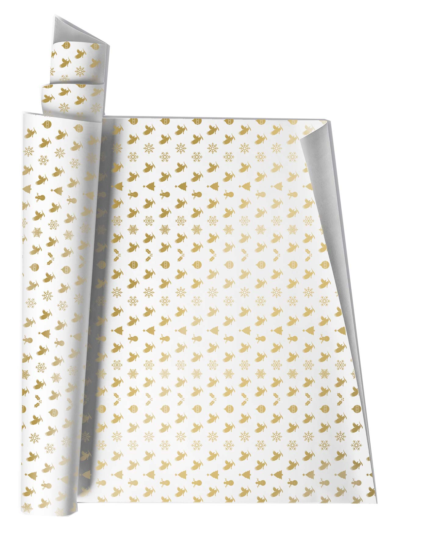 Build the excitement with this beautiful, classic white and gold wrapping paper.